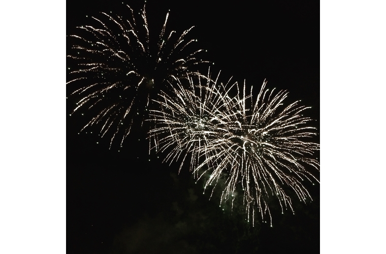 three white firework bursts