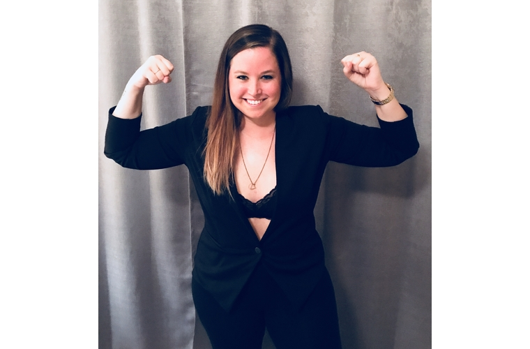Mackenzie strength pose after phase 1 mastectomy and reconstruction