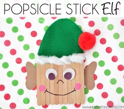 Easy Popsicle Stick Elf Kids Craft; Christmas Elf Craft for Kids