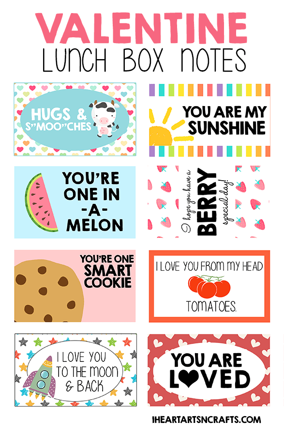 Free Printable Valentine Lunch Box Notes I Heart Arts N