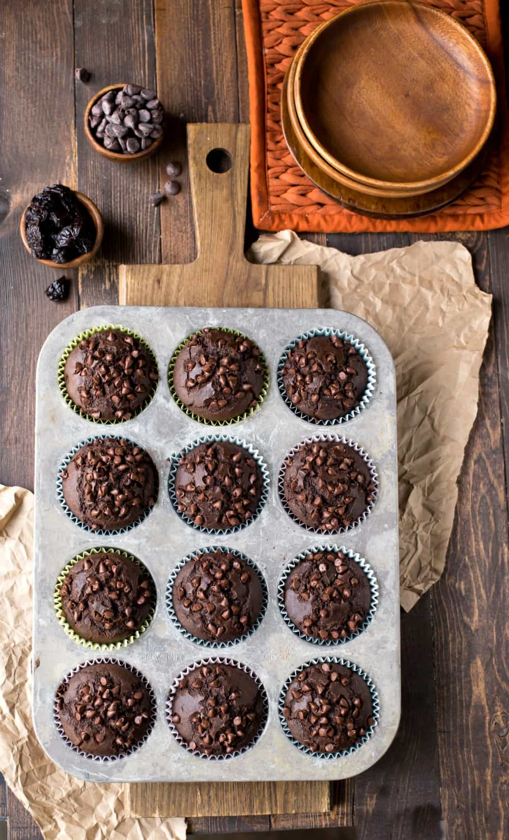 Chocolate Chocolate Cherry Muffins