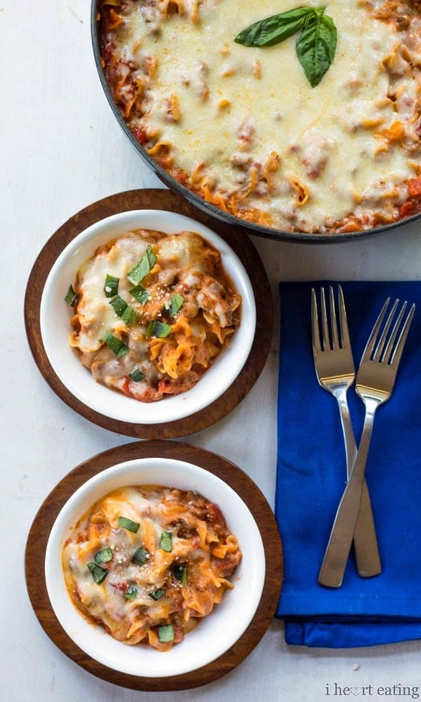 Easy One-Skillet Lasagna | http://www.ihearteating.com