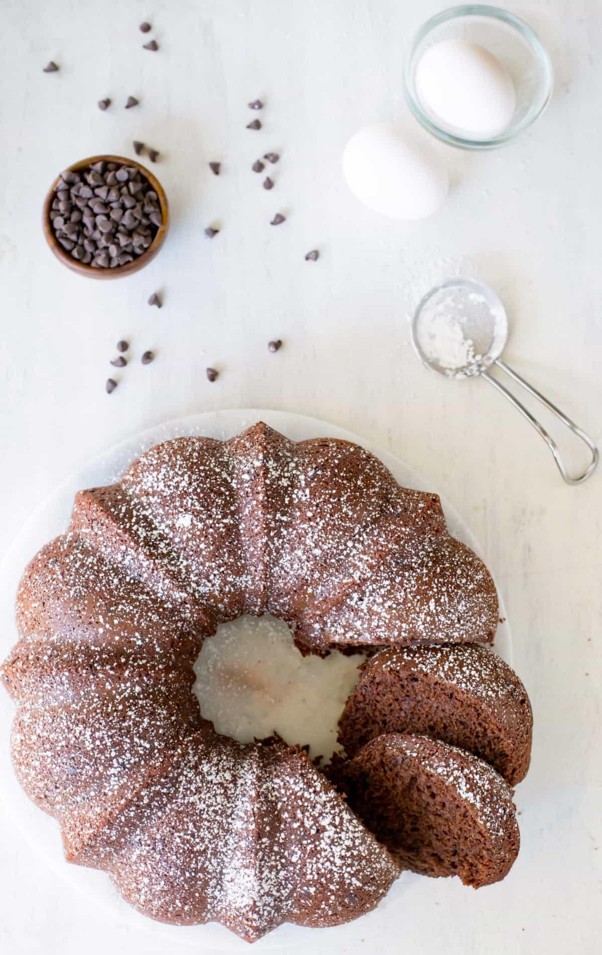 Chocolate Buttermilk Bundt Cake Recipe - Moist chocolate bundt cake that has only 4 WW Plus Points per serving!
