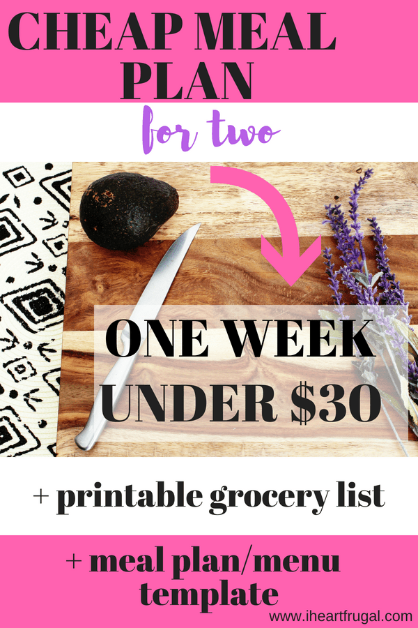 cheap meal plan for two under 30 for breakfast lunch and dinner
