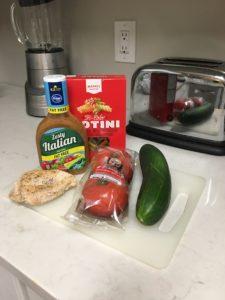 Ingredients: Pasta Chicken Cucumber salad