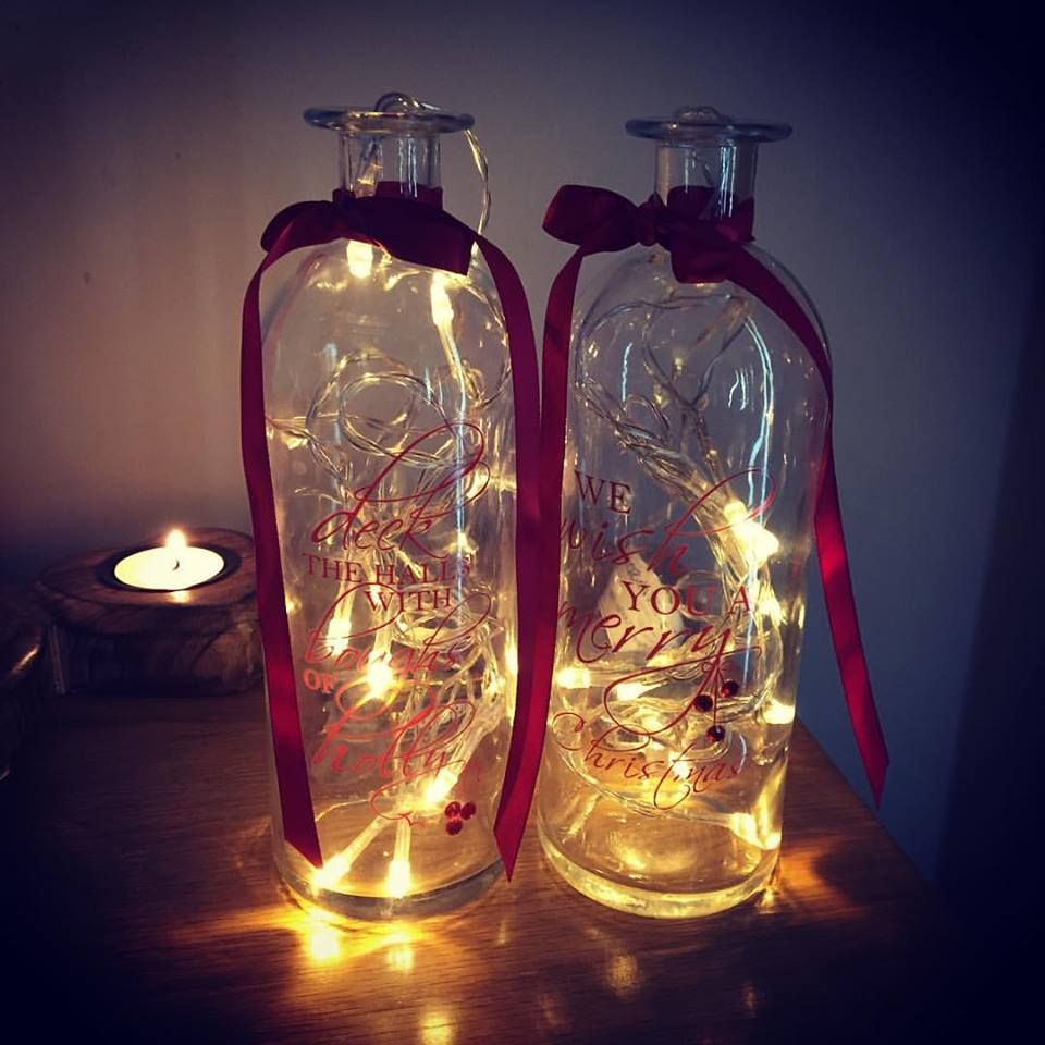 Set Of 2 Vintage Tall Christmas Script Glass Jar Vases Amp 2 Fairy Lights