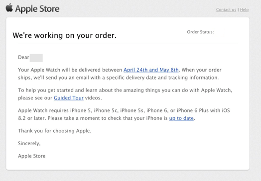 Apple watch order