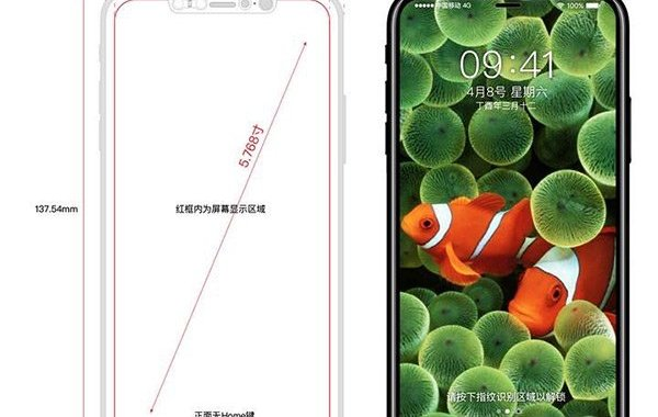iPhone 8 Schematics Shows In-Screen Touch-ID And Bezel-Less Display