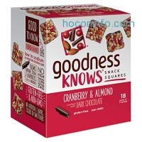 ihocon: goodnessKNOWS Cranberry, Almond & Dark Chocolate Gluten Free Snack Square Bars 18-Count Box