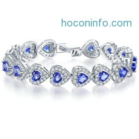 ihocon: CARSINEL White Gold Plated Cubic Zirconia Heart Tennis Bracelet for Women Girls Fashion Jewelry Gifts