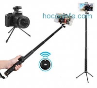 ihocon: MAONO Selfie Stick, Bluetooth Remote and Tripod, Portable Rain-Proof Monopod for GoPro, iPhone 7/7 Plus/6 Plus/6S Plus Samsung Galaxy Series, DSLR