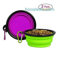 ihocon: Mimibox Silicone Collapsible Pet Bowls (2 Pack)矽膠寵物碗