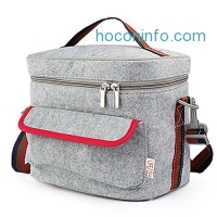 ihocon: Lifeasy - Felt Insulated/Cooler Lunch Bag with Crossbody Strap