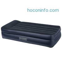 ihocon: Intex Pillow Rest Raised Airbed with Built-in Pillow and Electric Pump, Twin, Bed Height 16.5內建打氣幫浦及枕頭空氣床