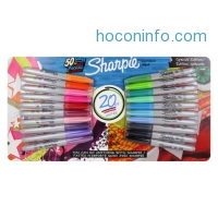 ihocon: Sharpie Permanent Markers, Fine Point, Assorted Colors, Pack of 20