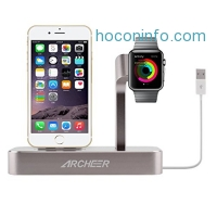 ihocon: (Lightning cable Included) Archeer 2 in 1 Apple Watch Stand and iPhone Charging Dock Station