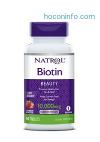 ihocon: Natrol Biotin Fast Dissolve Tablets, Strawberry flavor, 10,000mcg, 60 Count生物素
