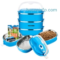 ihocon: Spill Proof Dog Cat Travel Bowl Portable 304 Stainless Steel (3 Layer)寵物不銹鋼三層便當盒