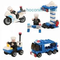ihocon: Newisland 358 Pieces City Police Building Set with 8 Mini Unit Police Bricks Toy Set 警察積木