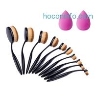 ihocon: Eastrin Professional Oval Makeup Brushes 10 Pcs + Makeup Sponges 2 Pcs橢圓化妝刷