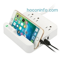 ihocon: EZOPower Desktop Charging Station with 3 AC Outlets, 3 USB Charger Ports and Built-in Phone Slot Holder