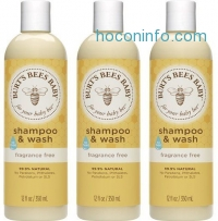 ihocon: Burt's Bees 無香精寶寶沐浴洗髮乳 Baby Shampoo & Wash, Fragrance Free, 12 Ounces (Pack of 3) (Packaging May Vary)