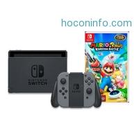 ihocon: Nintendo Switch with Gray Joy-Con & Mario + Rabbids Kingdom Battle