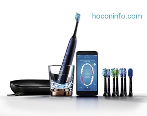 ihocon: Philips Sonicare DiamondClean Smart Electric, Rechargeable toothbrush for Complete Oral Care, with Charging Travel Case, 5 modes, and 8 Brush Heads  – 9700 Series, Lunar Blue, HX9957/51