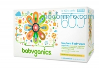 ihocon: Babyganics Face, Hand & Baby Wipes, Fragrance Free, 600 Count (Contains Six 100-Count Packs), Packaging May Vary