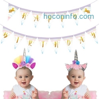 ihocon: Happy Birthday Banner with 2 Unicorn Headband