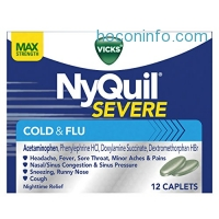 ihocon: Vicks NyQuil SEVERE Cough Cold and Flu Relief, 12 Caplets