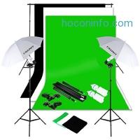 ihocon: CRAPHY Photography Studio Umbrella Kit 1250W 5500K Daylight Umbrella + Background Support Stand (10x6.5FT) + 3 Backdrops (White Black Green, 9x6FT) + Portable Bag