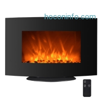 ihocon: 750W/1500W Electric Fireplace Heater 2-in-1 35 Adjustable Curve Wall Mount FP35