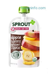 ihocon: Sprout Organic Baby Food Pouches, Stage 2 Sprout Baby Food, Apple Banana Butternut Squash, 4 Ounce, 10 Count有機嬰幼兒食品