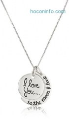 ihocon: Sterling Silver I love you to the moon & Back Pendant Necklace, 18-Inch
