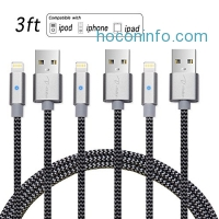ihocon: I-Bollon 8 pin Lightning cable, 3FT Nylon Braided, 3Pack