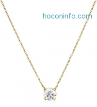 ihocon: Gold-Plated Sterling Silver 2 cttw Swarovski Zirconia Solitaire Pendant Necklace