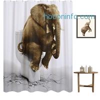 ihocon: Funny Elephant Shower Curtain, 72 x 72浴簾