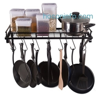 ihocon: ZESPROKA Kitchen Wall Pot Pan Rack 廚房鍋碗瓢盆掛架含十個鈎子