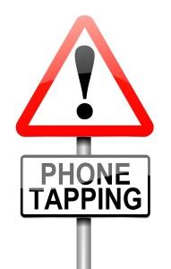 Phone Tapping Warning Sign.