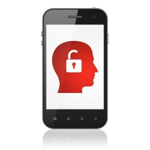 Finance concept: Head With Padlock on smartphone