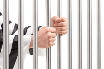 Male hands holding prison bars