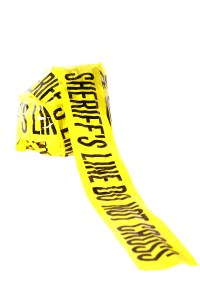 """Genuine """"Sheriff's Line Do Not Cross"""" caution tape collected fro"""