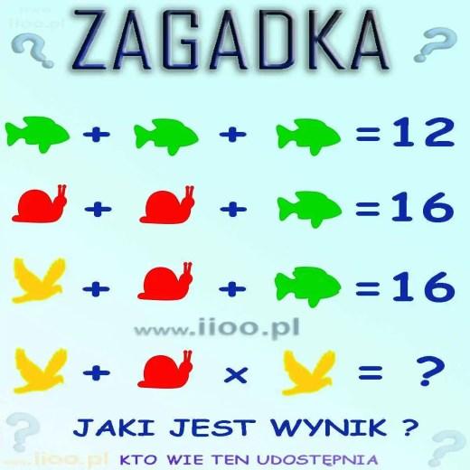 Zagadka logiczna- równania. Rozwiąż równia, zwróć uwagę na szczegóły i jeżeli wiesz jaki jest wynik - to wpisz go w komentarzy pod zdjęciem.