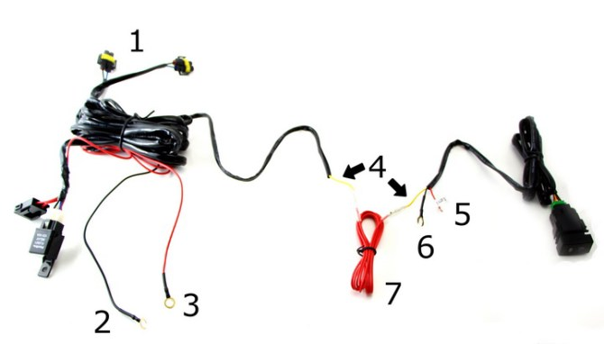 fog light relay wiring harness with switch installation
