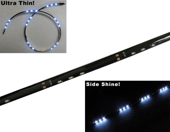 """JDM Audi A5 Q5 R8 Style Xenon White Side Shine 20"""" SMD Flexible LED Strip Lights For Headlight Lamps (3 LEDs groups in an array)"""