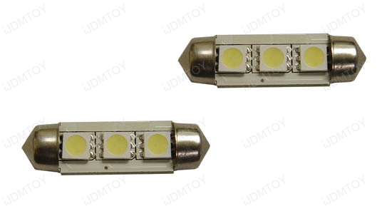 New!!! JDM Xenon White OBC Error Free D36mm 6411 6418 C6W LED Bulbs w/built-in load resistors for Audi, BMW, Porsche, Volkswagen, etc