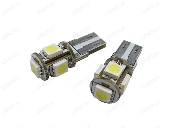 Error Free 5-SMD-5050 T10 2825 W5W LED Bulbs