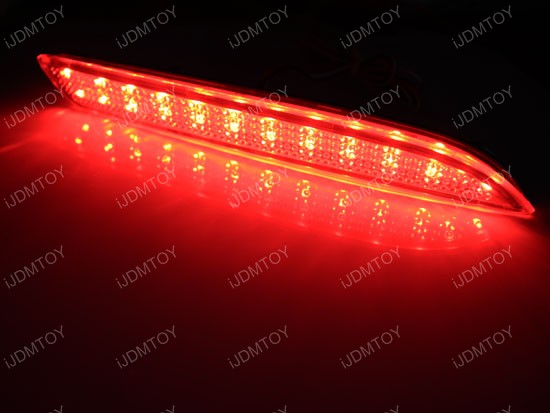 Red Color 15-LED Clear Lens Bumper Reflectors