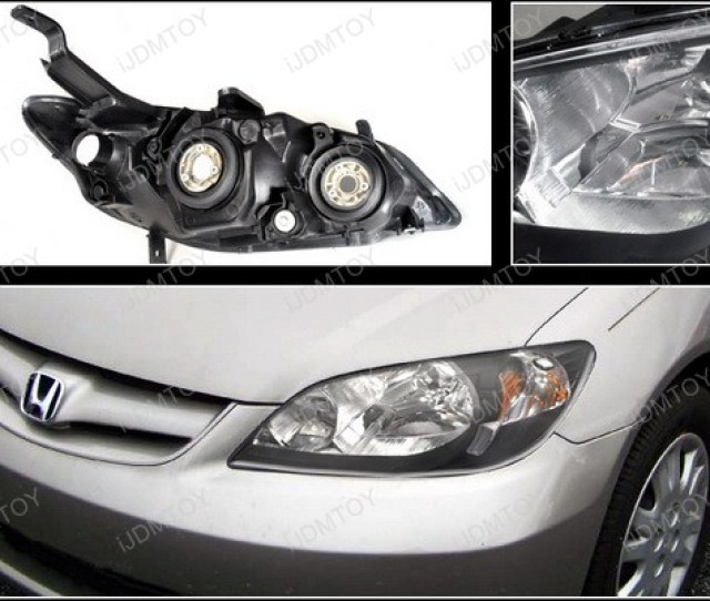 2004 2005 Honda Civic Black Housing Euro Style Reflector Headlights